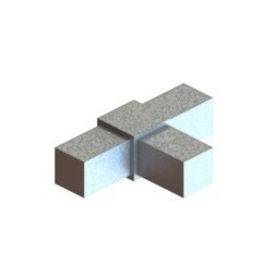 RC3 carré de 20x20mm |  raccord 3 tubes à 90° dans le même plan en forme de T