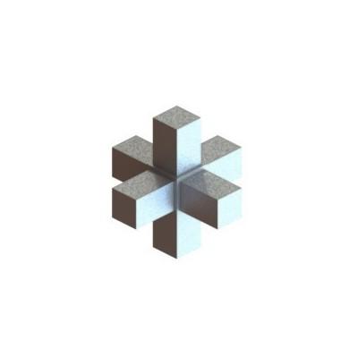 RC6 carré de 20x20mm |  raccord 6 tubes à 90° en forme de croix