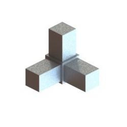 RC3 carré de 25x25mm |  raccord 3 à 90° pou faire un angle
