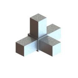 RC4 carré de 25x25mm |  raccord 4 tubes à 90° en forme de T