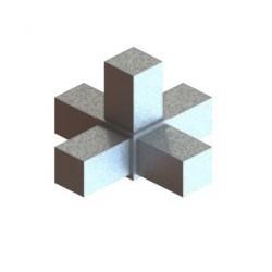 RC5 carré de 25x25mm |  raccord 5 tubes à 90° en forme de croix