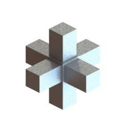 RC6 carré de 25x25mm |  raccord 6 tubes à 90° en forme de croix