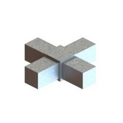 RC4 carré de 30x30mm |  raccord 4 tubes à 90° en forme de croix