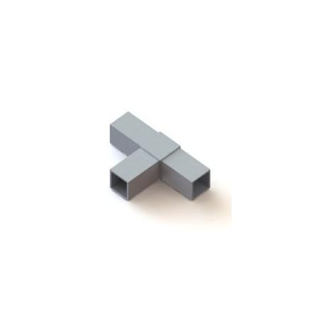 RC3 carré de 40x40mm    raccord 3 tubes à 90° dans le même plan en forme de T