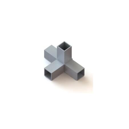 RC4 carré de 40x40mm |  raccord 4 tubes à 90° en forme de T
