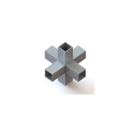 RC6 carré de 40x40mm |  raccord 6 tubes à 90° en forme de croix