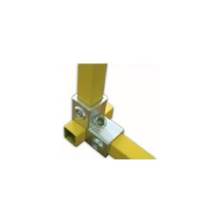 RAC 90° carré 40x40mm | raccord 3 tubes assemblés à 90°