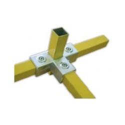 RAC T carré 40x40mm | raccord 4 tubes assemblés à 90°