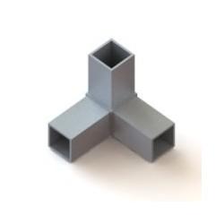 RC3 carré de 60x60mm |  raccord 3 à 90° pou faire un angle