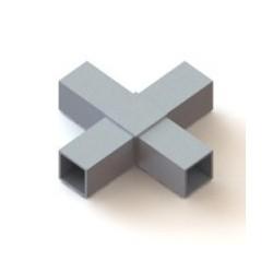 RC4 carré de 60x60mm |  raccord 4 tubes à 90° en forme de croix